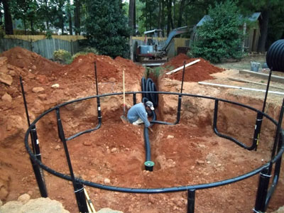 In ground trampoline with drainage system atlanta georgia for Outdoor ground drains